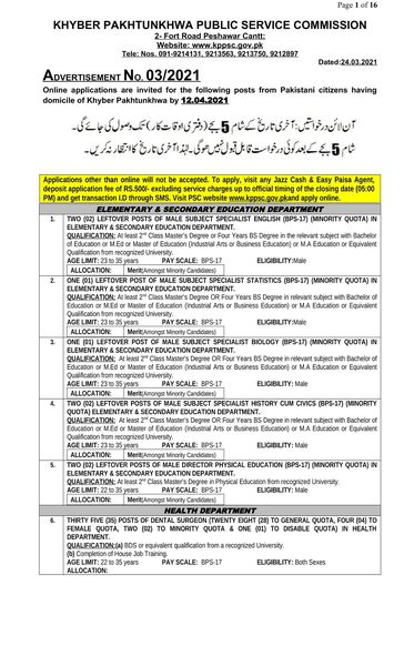 Today Kppsc Advertisement No 03 2021