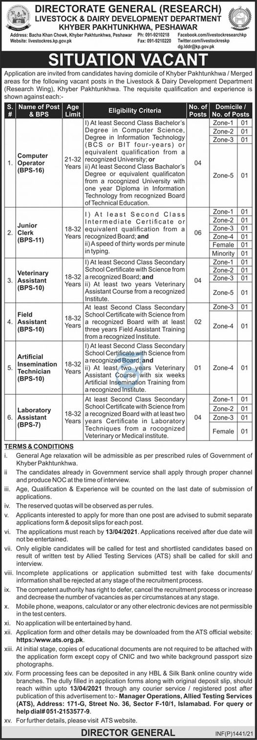 Livestock Dairy Development Department Kpk Jobs 2021