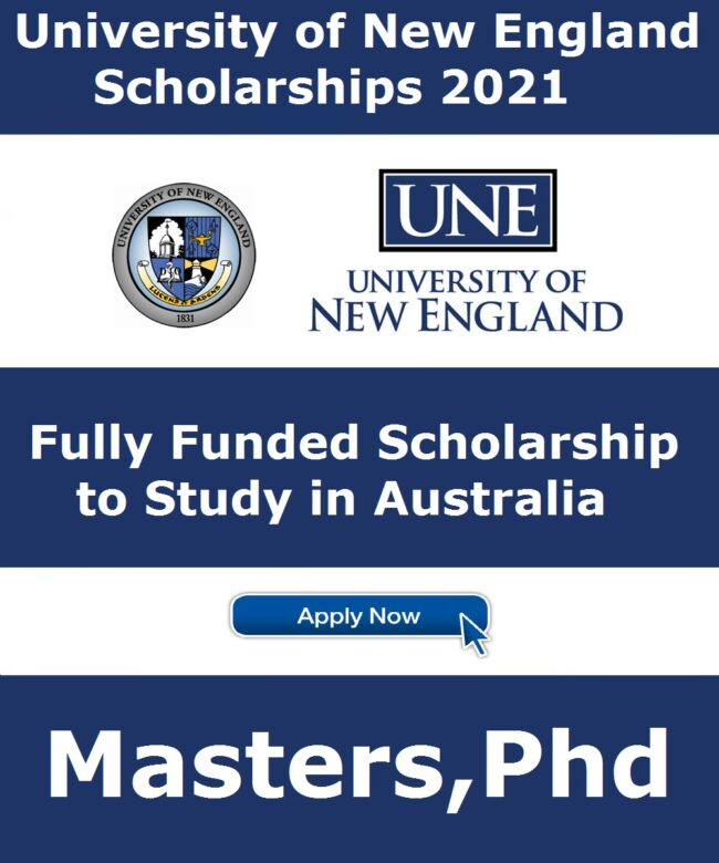 University of New England Scholarships Australia 2021 Applications are invited from suitable candidates to apply for University of New England Scholarships Australia 2021[Fully Funded].The said Scholarship is Fully Funded to obtain Masters and Ph.D. degree from New England University, Australia. These Scholarships is for International Students, All over the world Students can apply for this scholarship.
