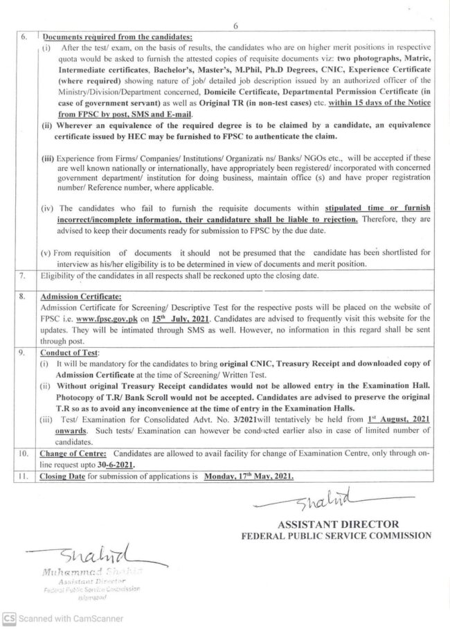 FPSC Jobs Consolidated Advertisement No 03 2021 11