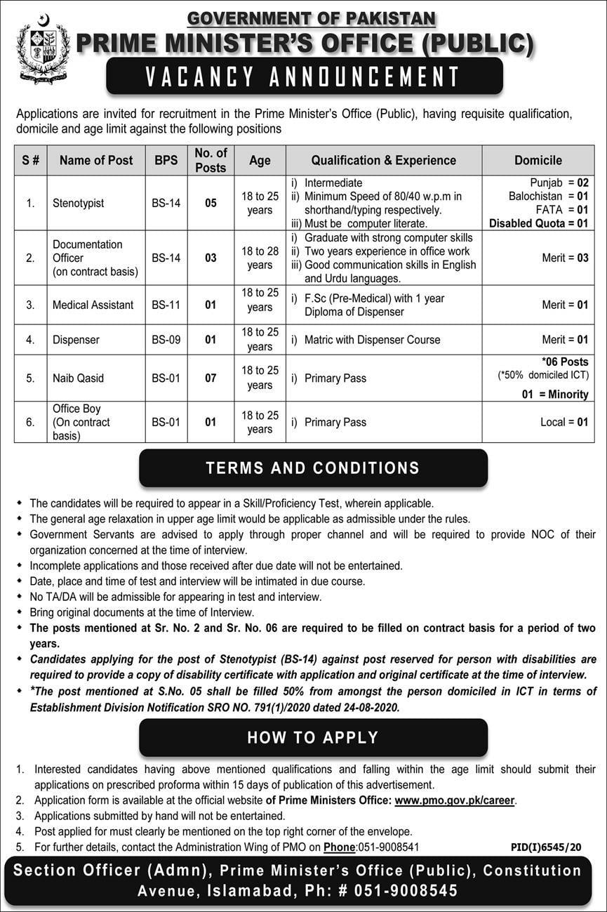 Government of Pakistan Prime Minister Officer Jobs 2021